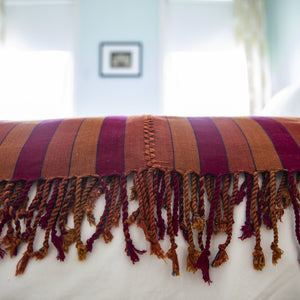 LA TERRENAL handcrafted artisanal naturally dyed blanket handwoven by Living Threads Co. on a backstrap loom.