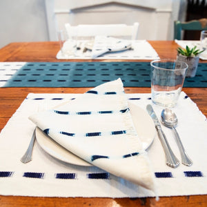 Living Threads Co. hand crafted TIPICA napkin in natural and indigo