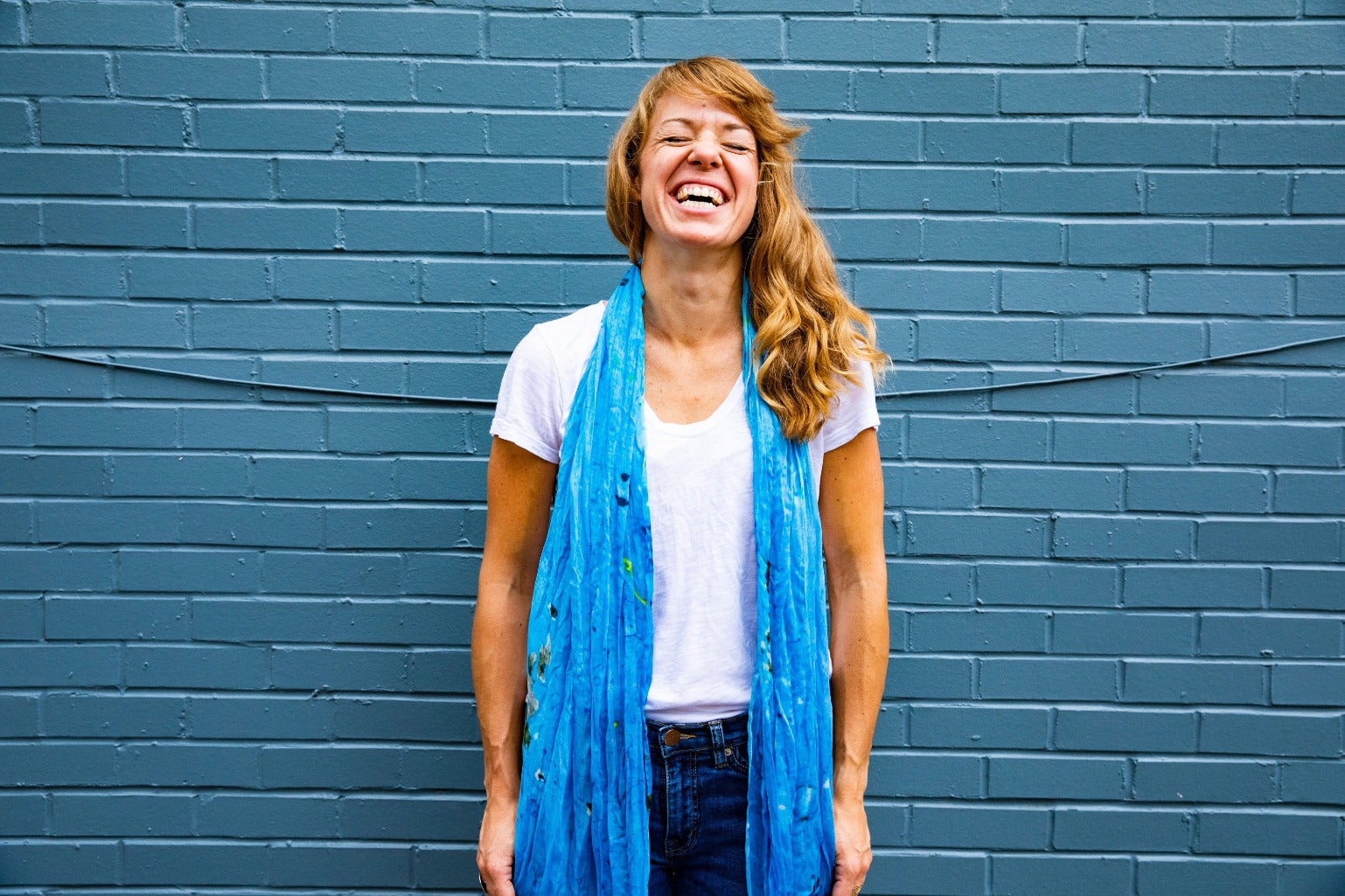 PARED | Handwoven Bamboo Silk Scarf in Blue by Living Threads Co. Face mask alternative