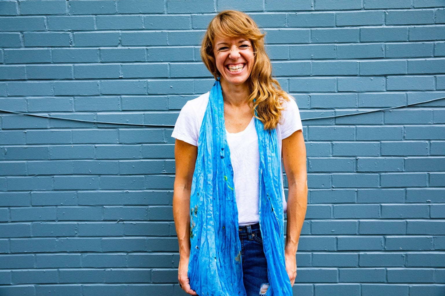 PARED | Handwoven Bamboo Silk handwoven Scarf in Blue by Living Threads Co.
