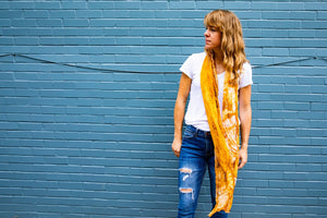 PARED | Handwoven Bamboo Silk Scarf in Orange by Living Threads Co.