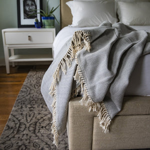 Herringbone blanket handcrafted by our partner artisans in Nicaragua in grey