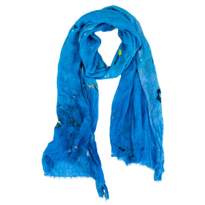 Handwoven bamboo silk blue scarf digital print by Living Threads Co.