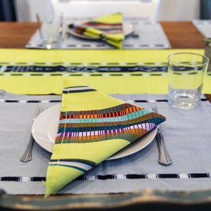 Navy Kus Napkins by Living Threads Co. artisans handwoven natural dye in chartreuse