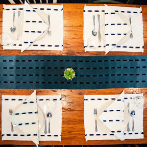 Naturally dyed handwoven cotton Ikat placemats made by Living Threads Co. Guatemalan artisans.