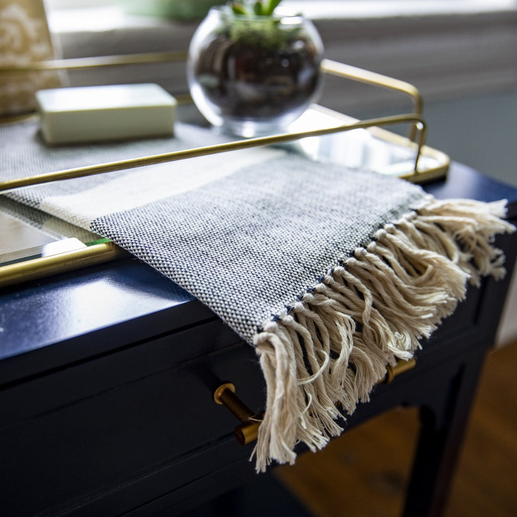 OALLA Hand towel by Living Threads Co. in black and natural handwoven by artisans in Guatemala