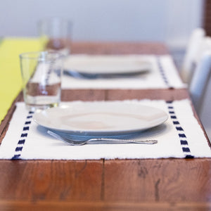 Living Threads Co. Ikat placemats in Natural Handwoven and naturally dyed in Guatemala