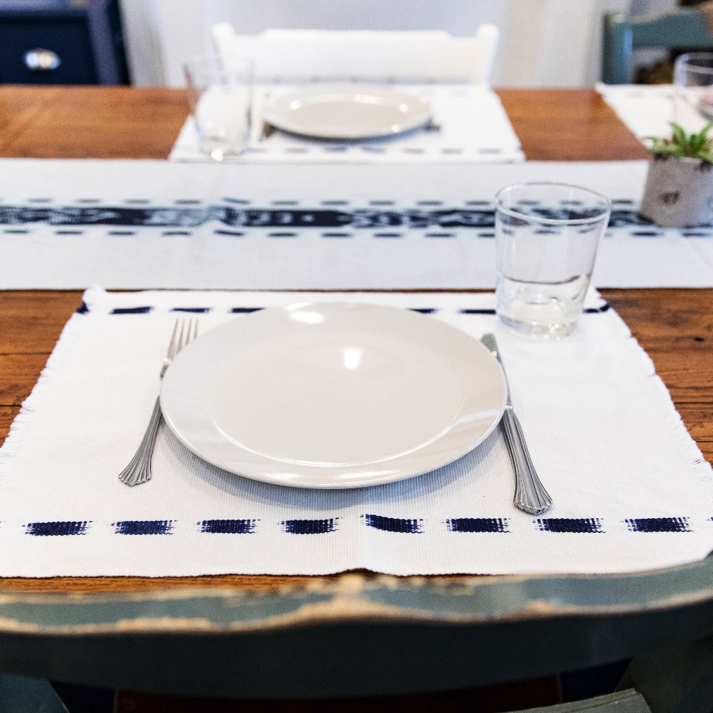 Living Threads Co. Ikat placemats in Natural Handwoven and naturally dyed by artisans in Guatemala
