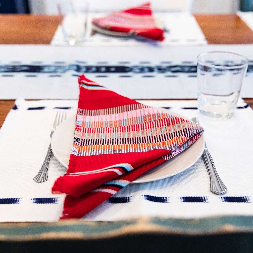 Ikat Natural Dye TAY table Runner handwoven by Living Threads Co. artisans in Grey