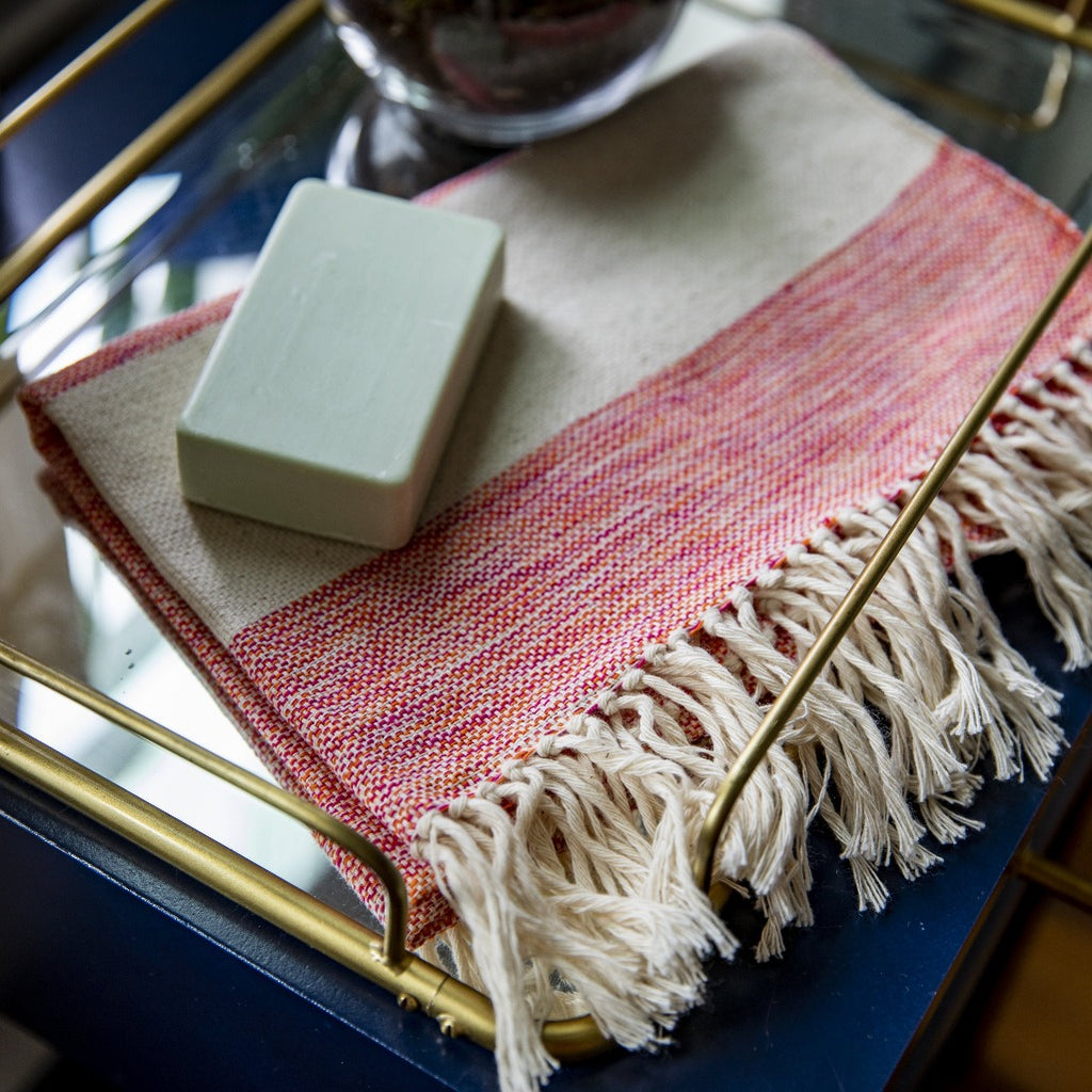 Artisanal handwoven 100% cotton hand towel by Living Threads Co in Sunrise