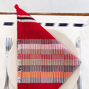 Navy Kus Napkins by Living Threads Co. artisans handwoven natural dye in red