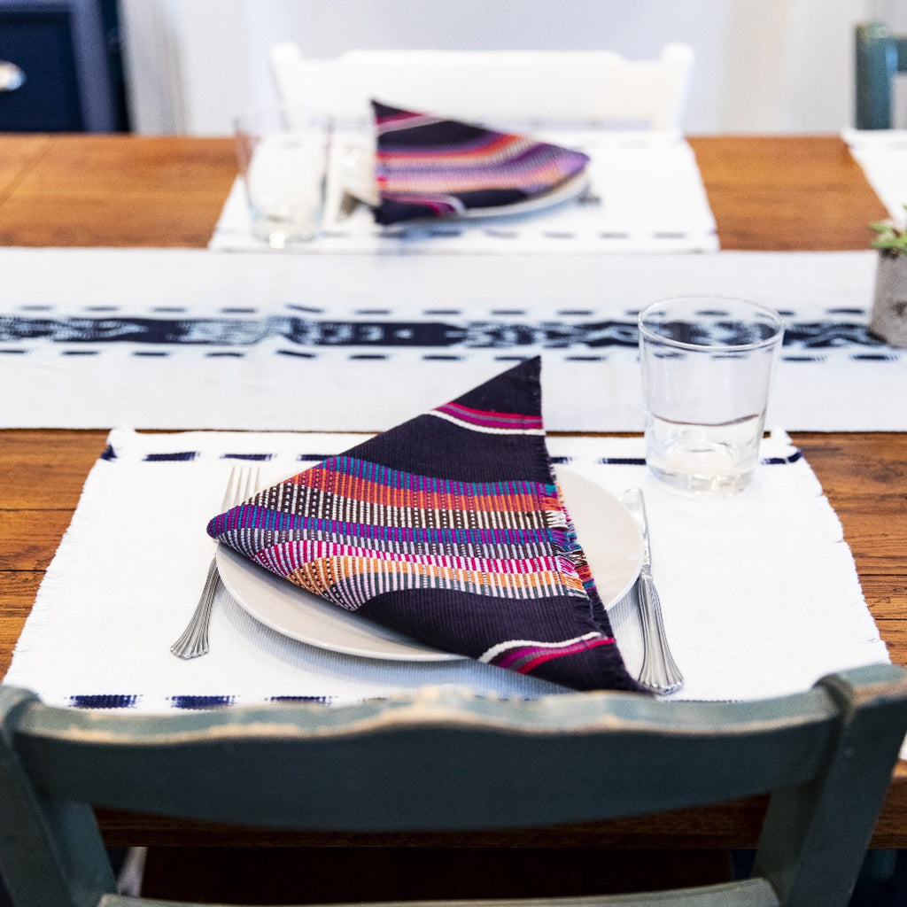 Navy Kus Napkins by Living Threads Co. artisans handwoven natural dye