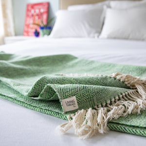 Handwoven cotton MADERA artisan blanket and throw in Emerald by Living Threads Co.