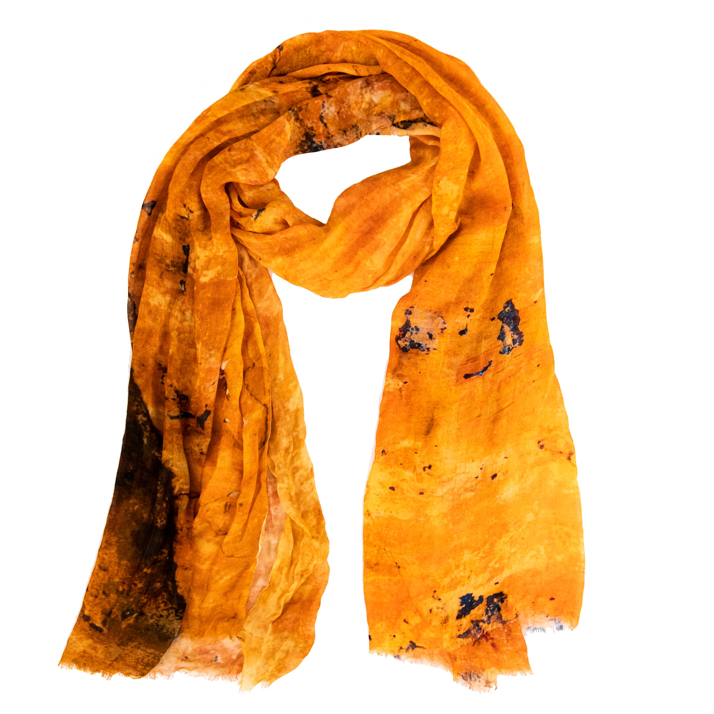 Orange -  Handwoven bamboo silk scarf digital print by Living Threads Co.