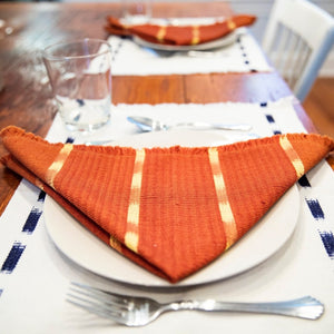 Living Threads Co. hand crafted TIPICA napkin in earth tones