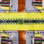 Ikat Natural dye Chartreuse TAY table runner handwoven by Living Threads Co. artisans in Guatemala.
