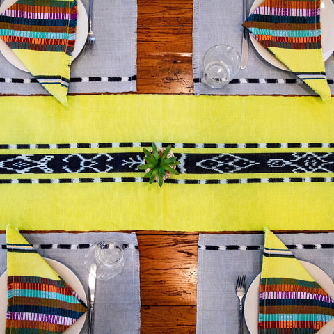 Ikat Natural dye TAY table runner in Chartreuse by Living Threads Co