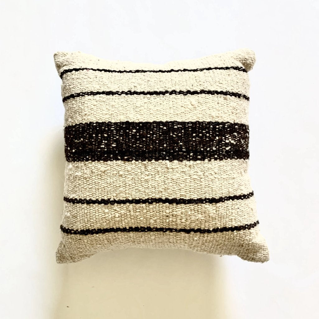 100% wool LANA pillow in Natural, handwoven on traditional Mayan backstrap loom by Living Threads Co. Guatemala artisans.