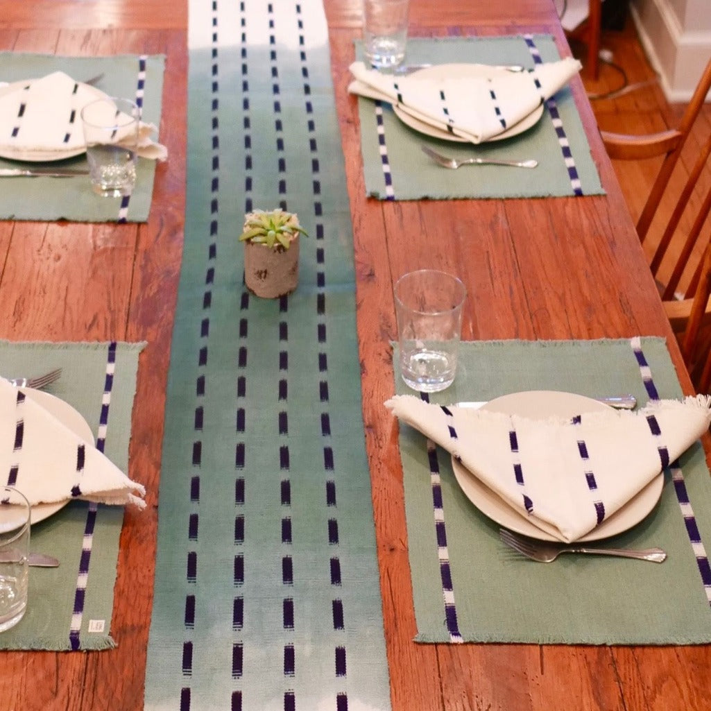 Forest KAT placemats handwoven and naturally dyed by Living Threads Co. Artisans in Guatemala