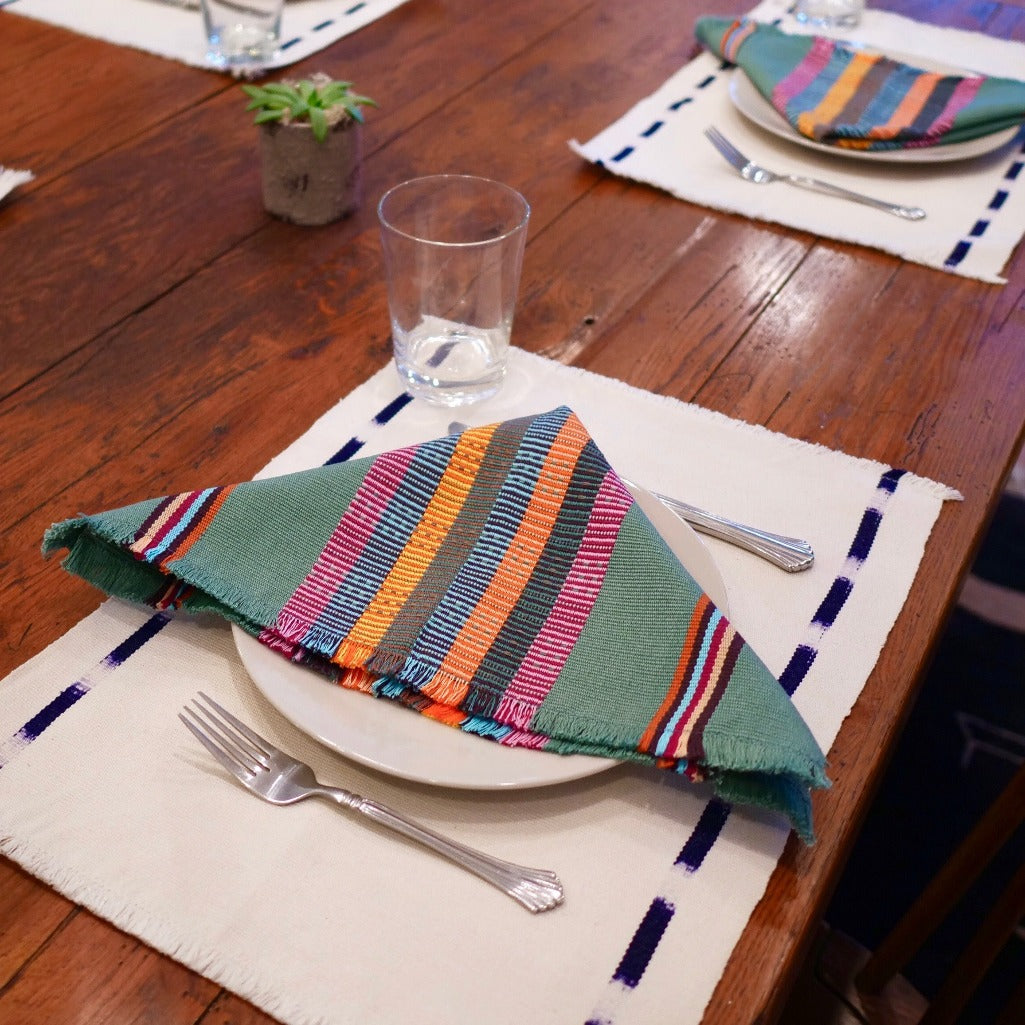 Navy Kus Napkins by Living Threads Co. artisans handwoven natural dye in Forest green