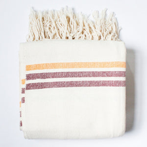 ILDER Handwoven 100% cotton queen blanket in Maroon & Orange stripes by Living Threads Co. artisans