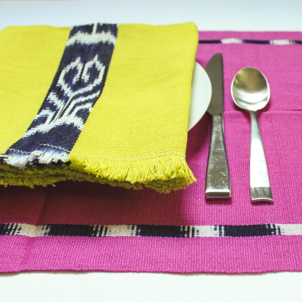 IKAT placemats handwoven on mayan backstrap looms in Guatemala by Living Threads Co. artisans in Pink