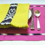 KAT placemats handwoven on mayan backstrap looms in Guatemala by Living Threads Co. artisans in Pink Ikat