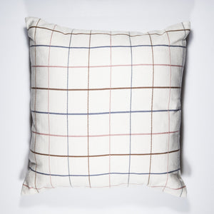 Natural windowpane design handwoven PLAI Pillow Case in 100% naturally dyed cotton.