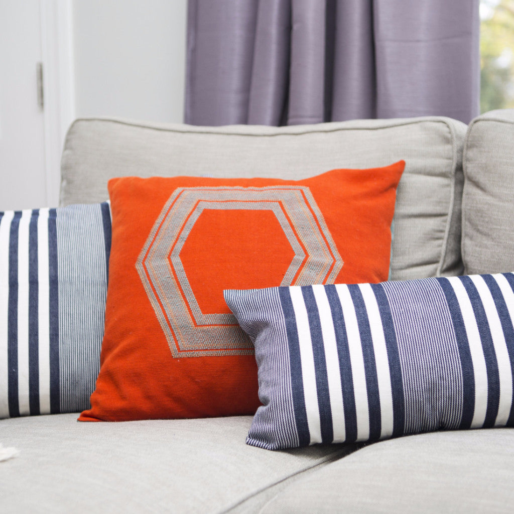 GEO Pillow Case handwoven in Guatemala by Living Threads Co. Artisans in orange