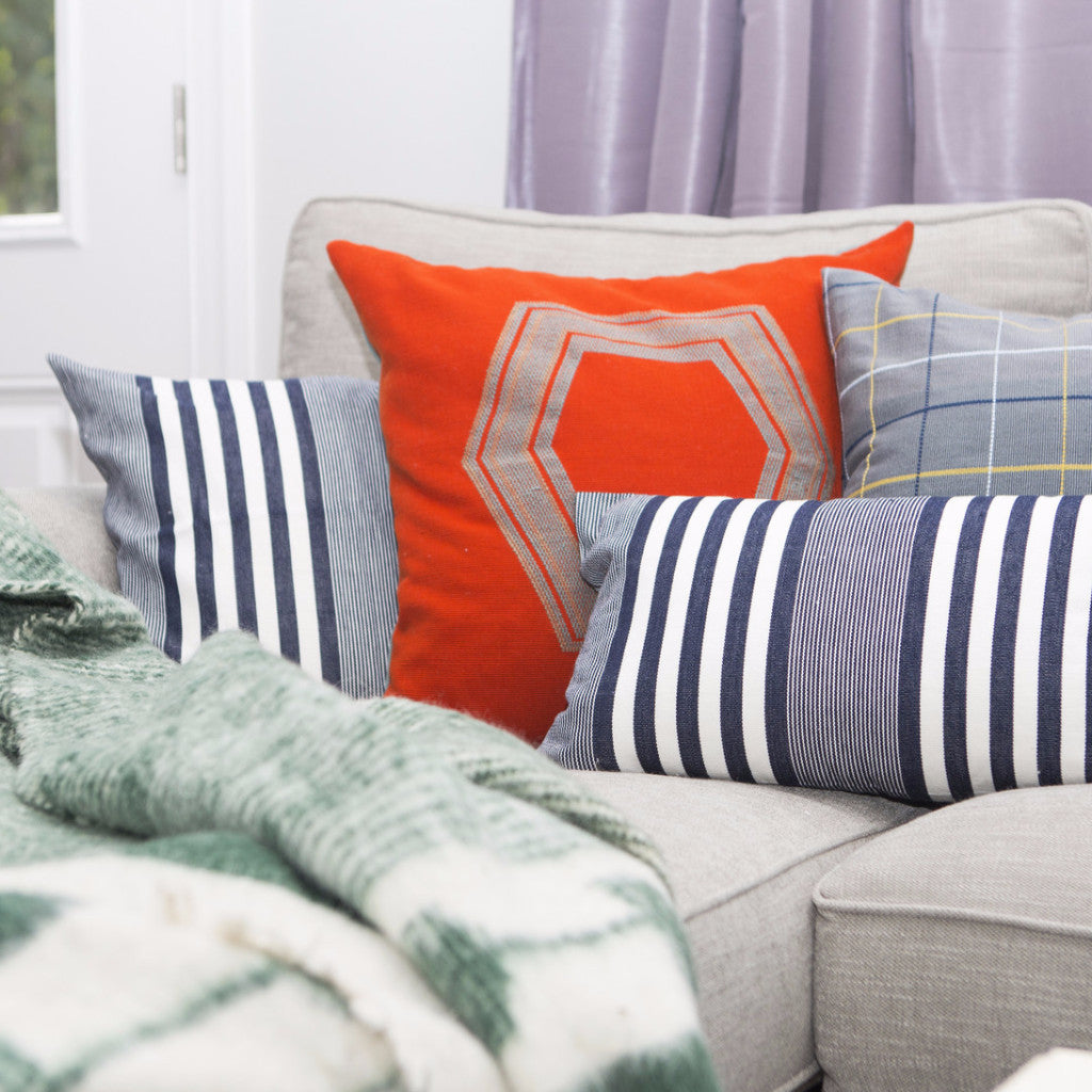 Hand woven GEO pillow case in orange by Living Threads Co.