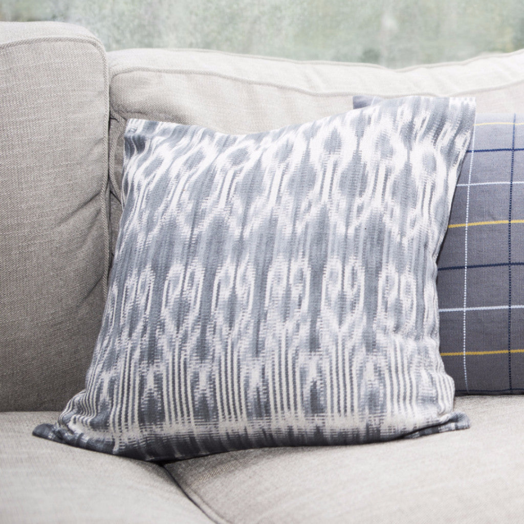 Hand woven natural dye Ikat pillow case by Living Threads Co.