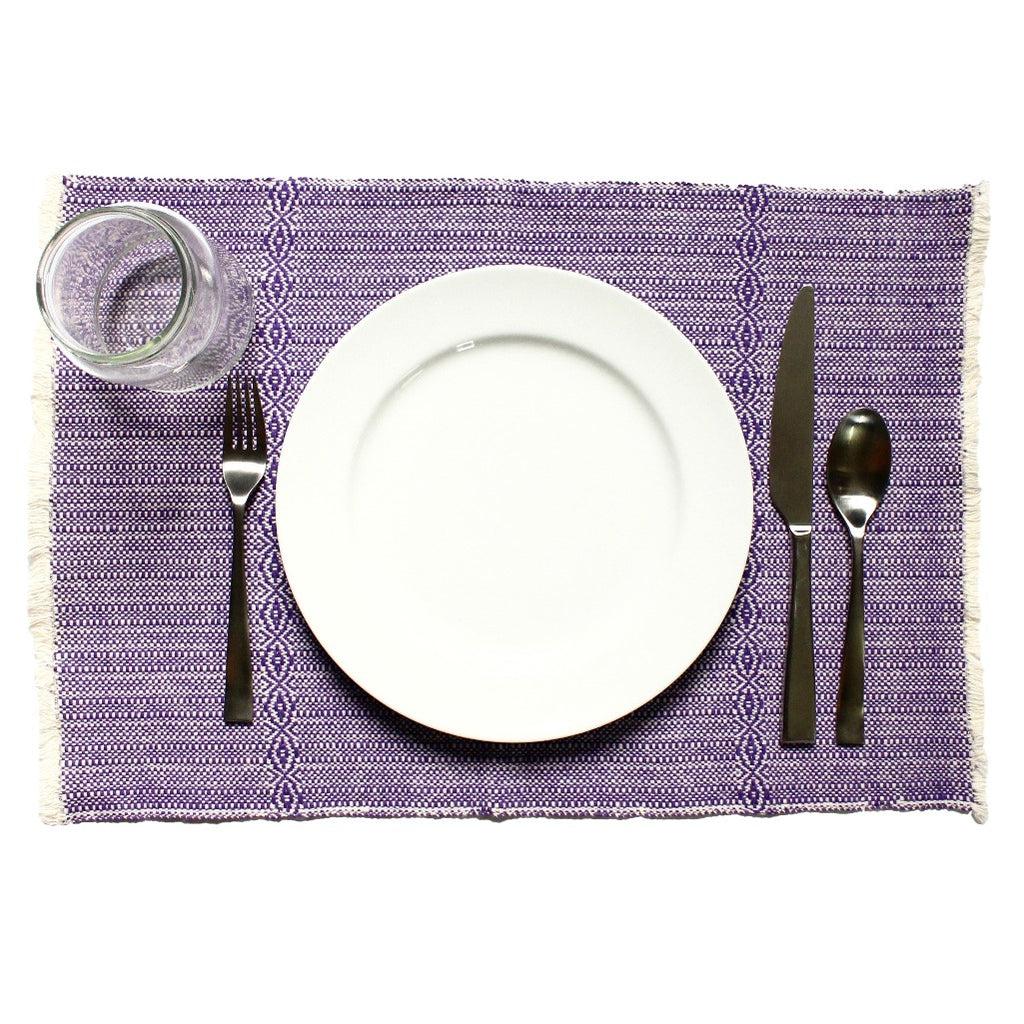 Set of 4 Artisanal Purple LYN Placemats made by Nicaraguan artisans in 100% ecologically dyed cotton