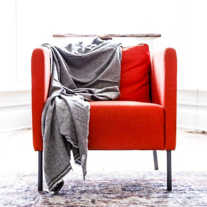 Living Threads Co. cashmere hand woven throw by artisans in Nepal working with a foot loom