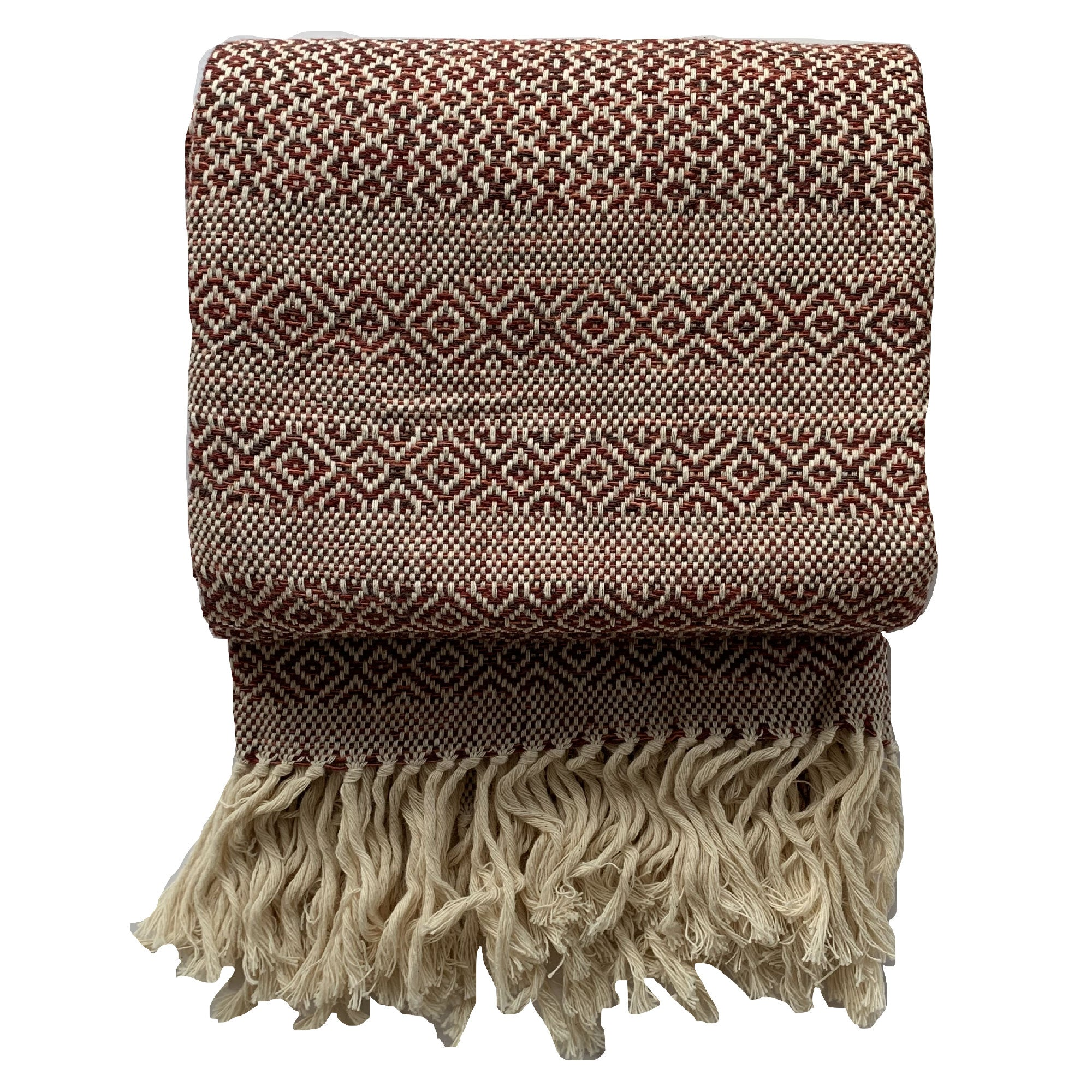 Handmade cotton mixed birdseye throw handmade by Living Threads Co. artisans in Nicaragua in Ruby