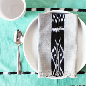 Guatemala handwoven natural dye cotton sustainable placemats by living threads co artisans in Turquoise