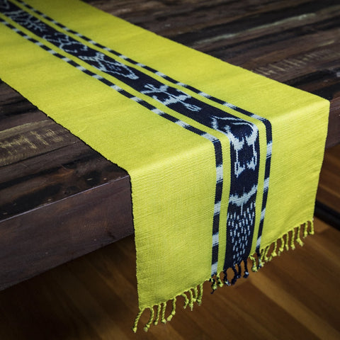 TAY Ikat Natural Dy table runner hand woven in Guatemala on Mayan backstrap loom by Living Threads Co. skilled artisans in Chartreuse