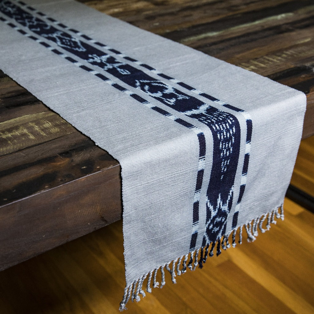 TAY Ikat Natural Dye table runner hand woven in Guatemala on Mayan backstrap loom by Living Threads Co. skilled artisans in Grey