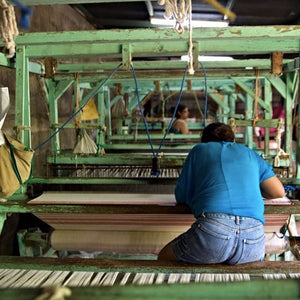 Living Threads Co. partner artisans in Nicaragua working on queen bed blanket
