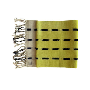 Handcrafted dip dye throw by Living Threads Co. artisans in Guatemala in chartreuse