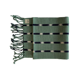 Living Threads Co. hand crafted eco-dyed handwoven TIPICA table runner in Forest