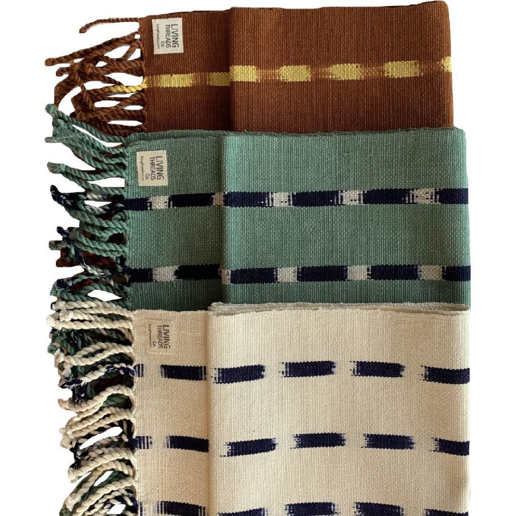 Living Threads Co. hand crafted eco-dyed handwoven TIPICA table runner in Brown, Forest, and Natural