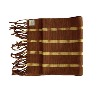 Living Threads Co. hand crafted eco-dyed handwoven TIPICA table runner in Brown