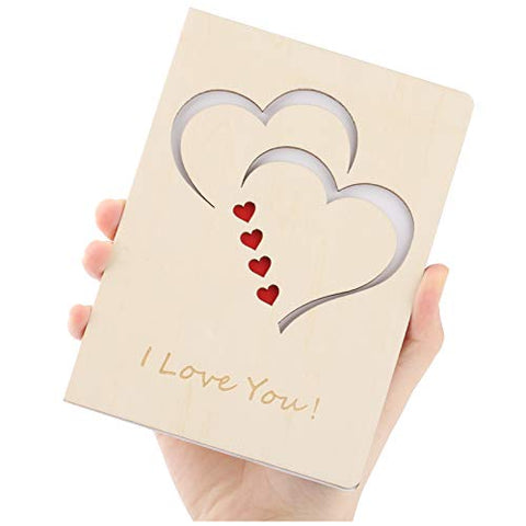 Greeting Cards, Natural Handmade Wooden Love Cards