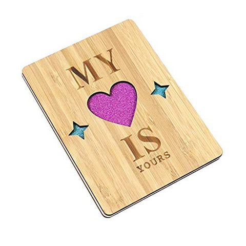 Valentine Card Wooden Greeting Card, Handmade Bamboo Wooden Love Card