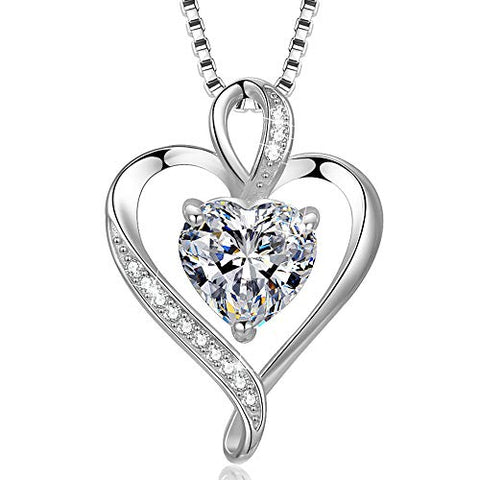 Heart Necklace for Women 925 Sterling Silver Rose Gold Love