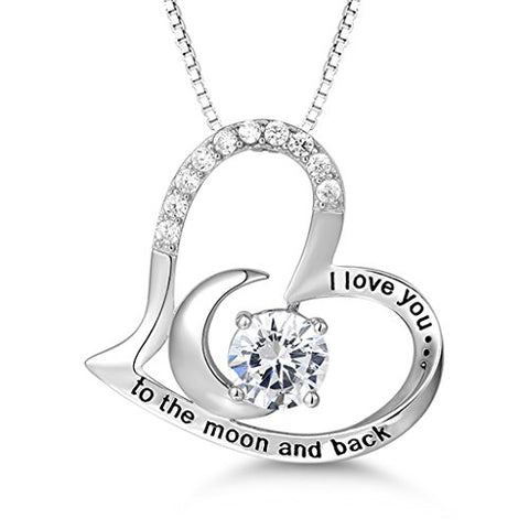 "Sterling Silver Necklace ""I Love You to the Moon and Back"" Love Heart"
