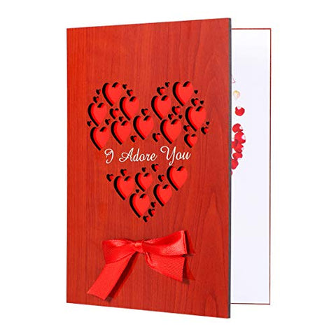 I Adore You Card 1pc with Gift Box, Wooden Love Greeting Card