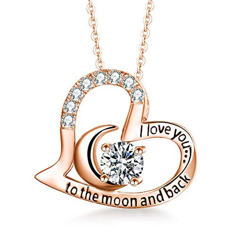 "Sterling Silver Necklace ""I Love You to The Moon and Back"""
