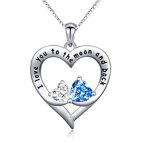 "Sterling Silver Heart Necklace ""I Love You to the Moon and Back"" Infinity Forever"