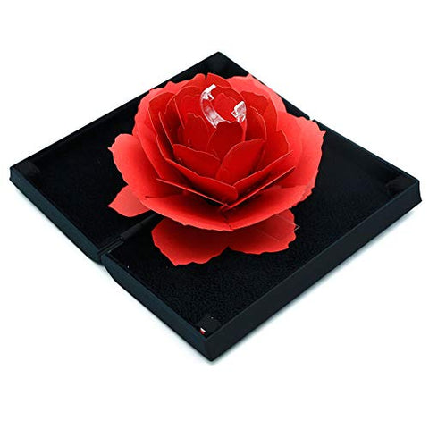Ring Box, 3D Pop Up Rose Ring Holder Case